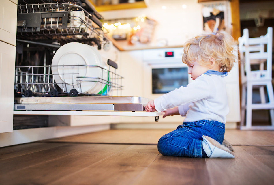 Child Getting Into Dishwasher